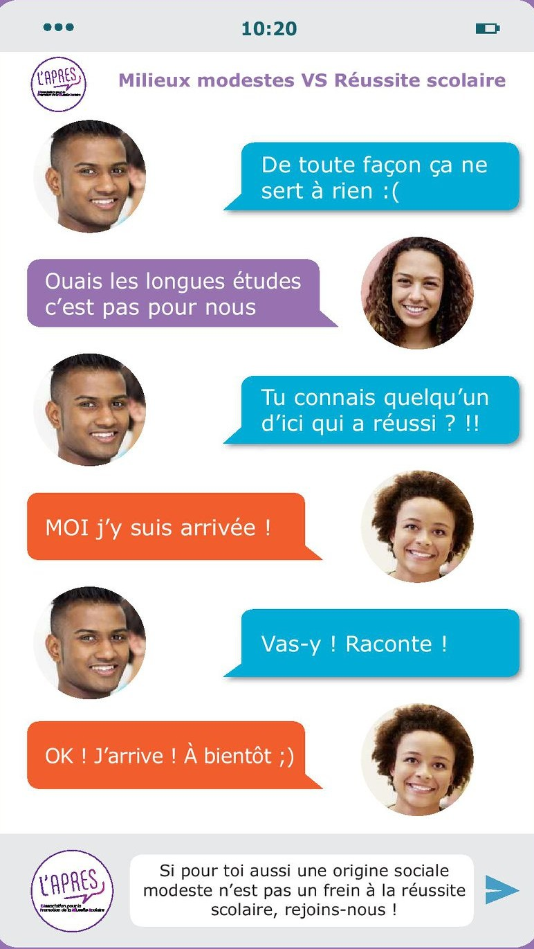 illustration échange sms entre 2 étudiants